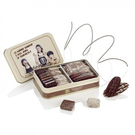 Boîte métal enfants assortiment de chocolats Guinguet 200g