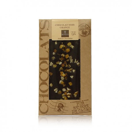 Tablette de chocolat noir oranges confites Bovetti 100g