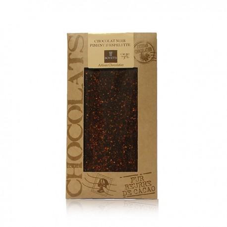 Tablette de chocolat noir piment d'Espelette Bovetti 100g
