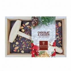 Chocolat Noir aux Fruits Secs A Casser Avec Maillet et Boite En Bois 350g