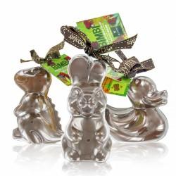 Assortiment de 3 Moulages de Chocolat Bovetti Bimbi Canard Lapin et Dino 3X60g