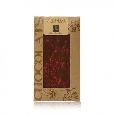 Tablette de chocolat lait et pétales de rose Bovetti 100g