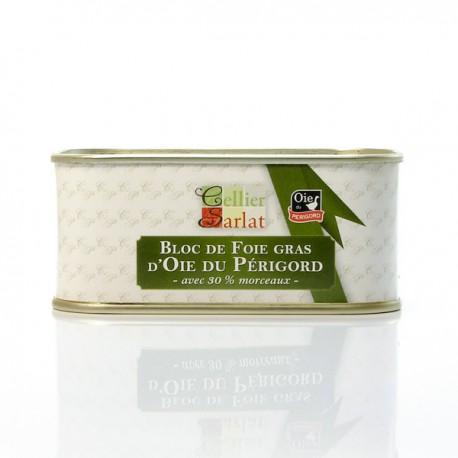 Bloc de foie gras d'oie du Périgord avec 30% morceaux 200g