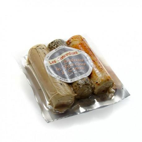 Rouleaux de foie gras entier cuits au sel (Piment, nature, poivre) 150 g