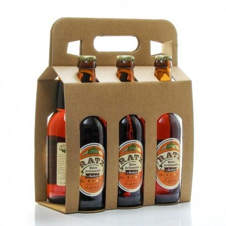 Pack de 6 Bières Ambrées Artisanales du Quercy Brasserie Ratz 33cl soit 198cl